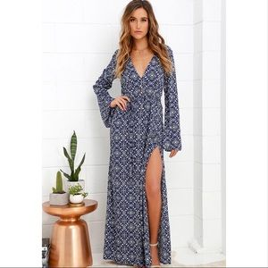 Lulus Mandala Daydream Blue Print Maxi Dress